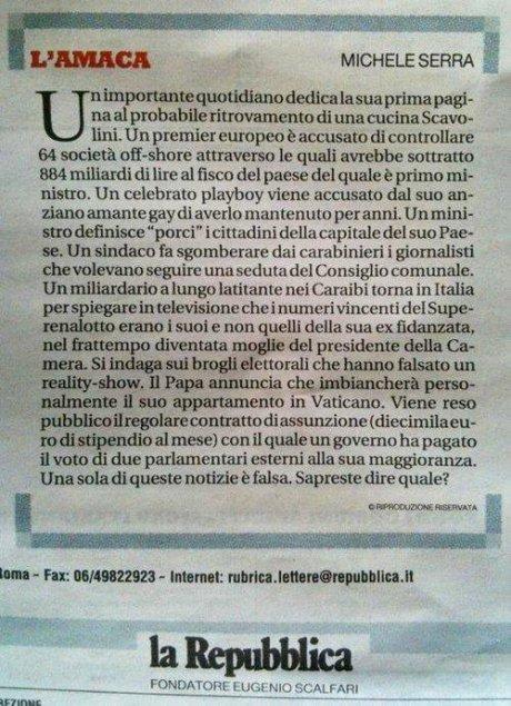 """Articolo """"L'amaca"""" di Repubblica"""